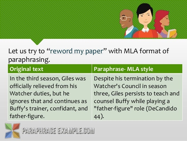 how to cite paraphrase mla example
