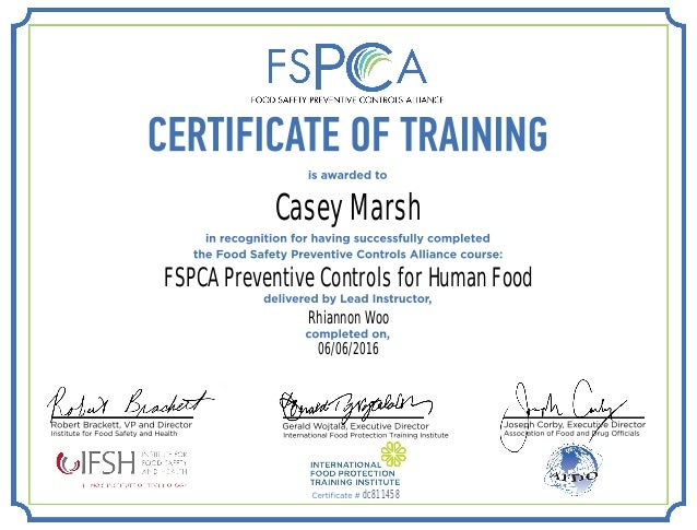 fspca model food safety plan example