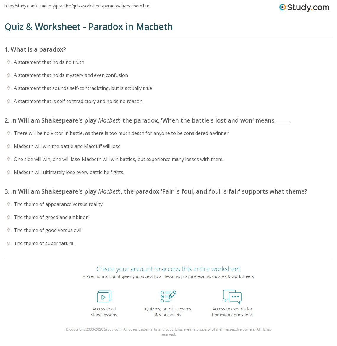 what is an example of a paradox in macbeth