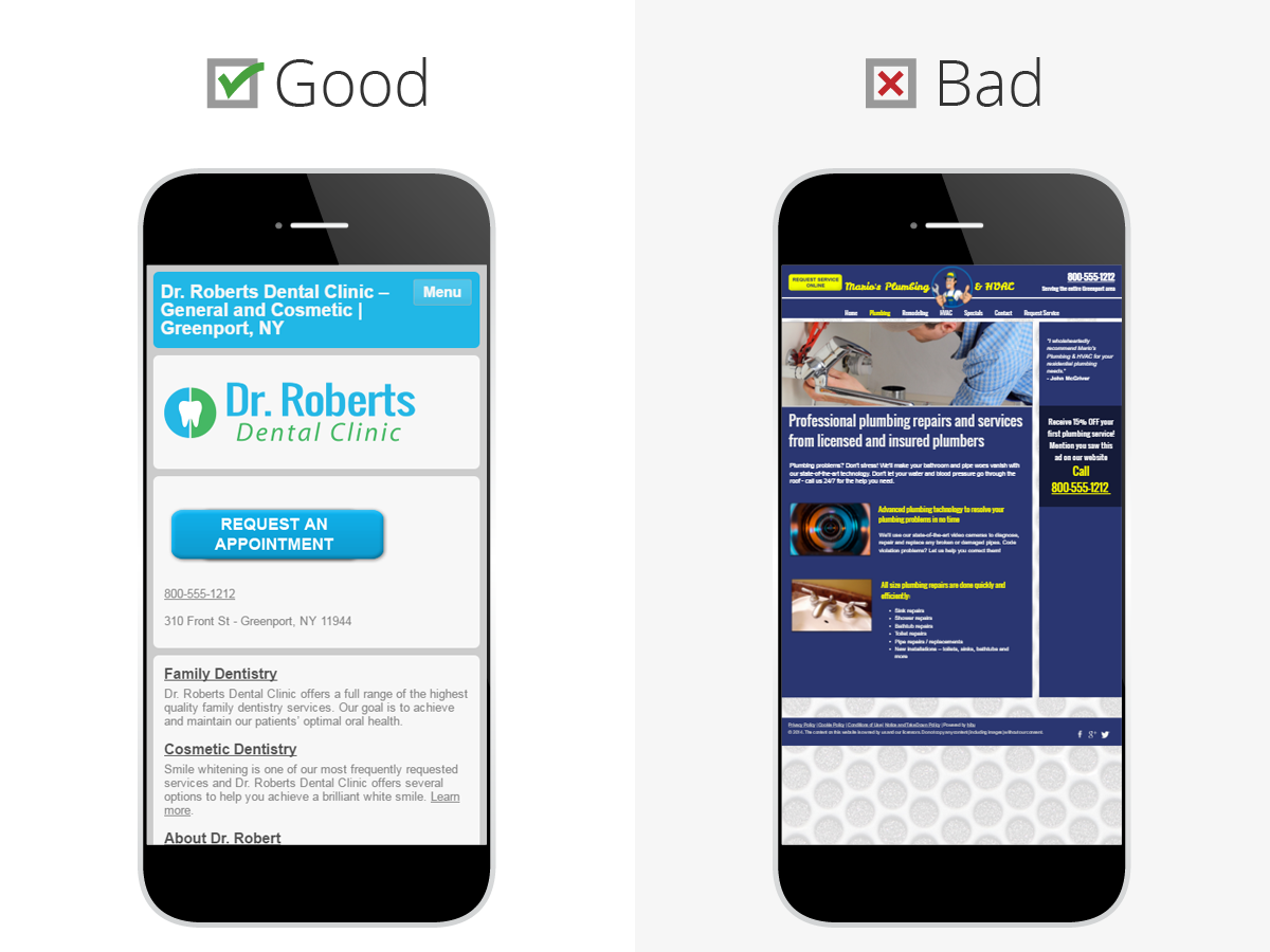 good and bad example of website