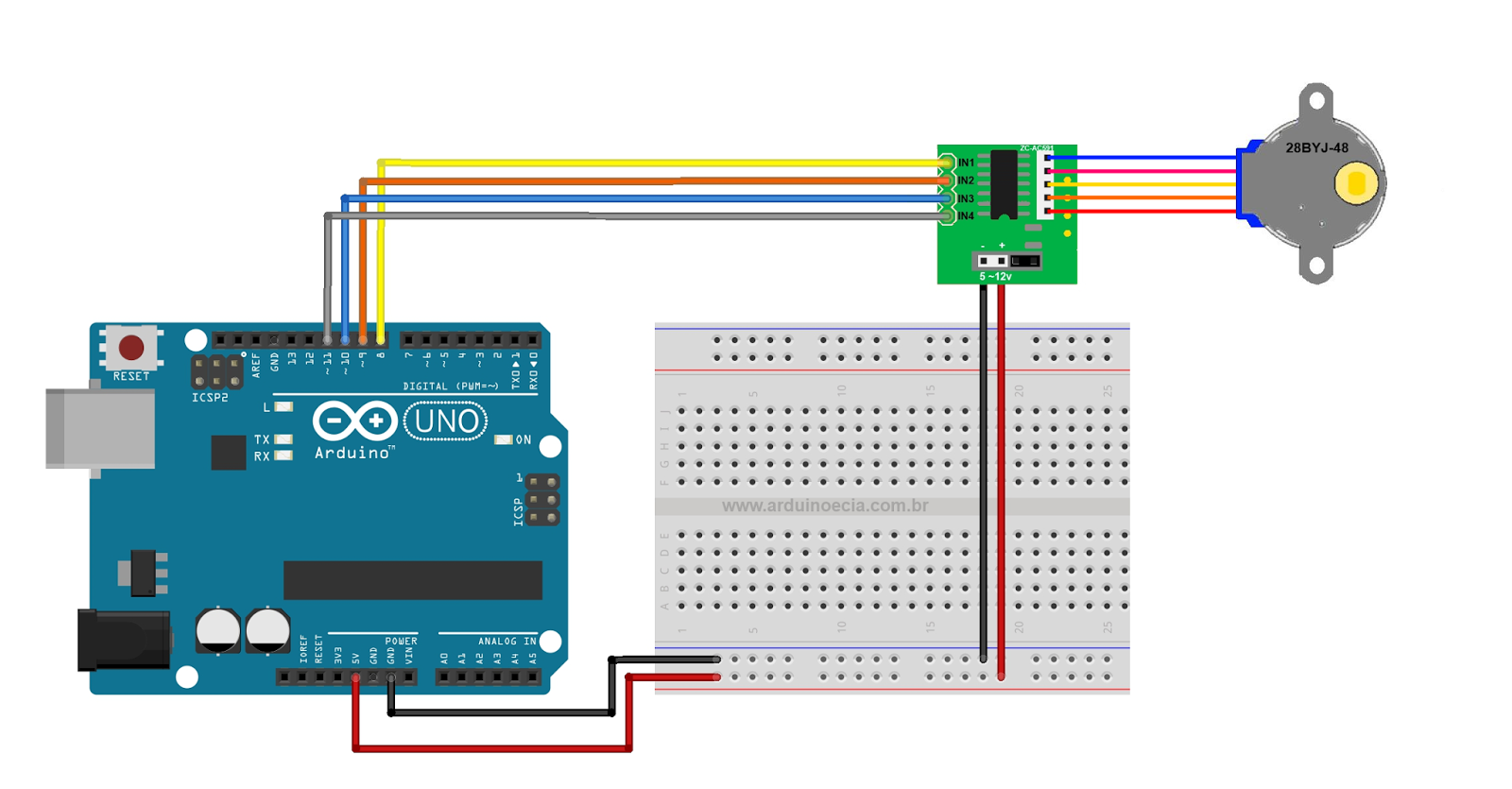 28byj-48 arduino stepper library example