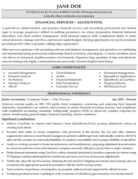 resume accounting career plan example