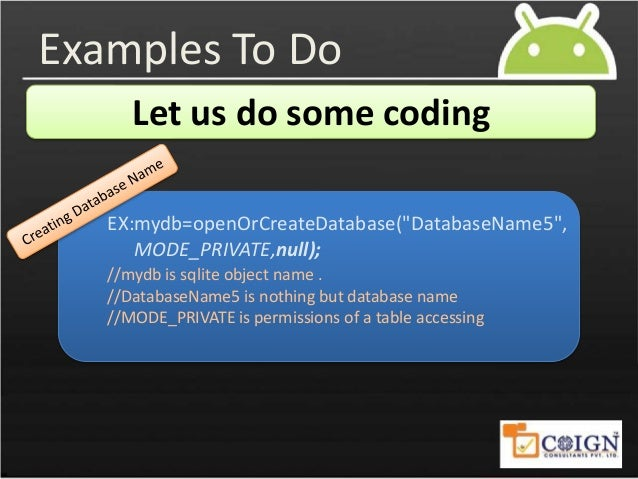 android sqlite database example source code