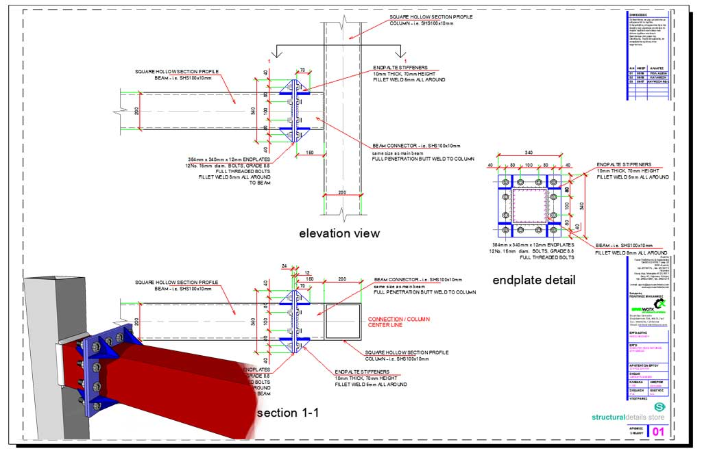 steel beam to column moment connection design example