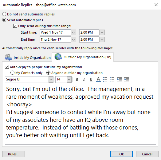 on vacation auto reply message example