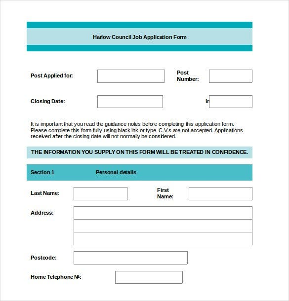 example application form template uk