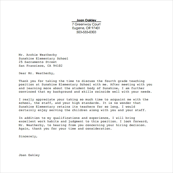 example of thanks giving letter