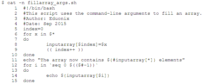 array in shell script example