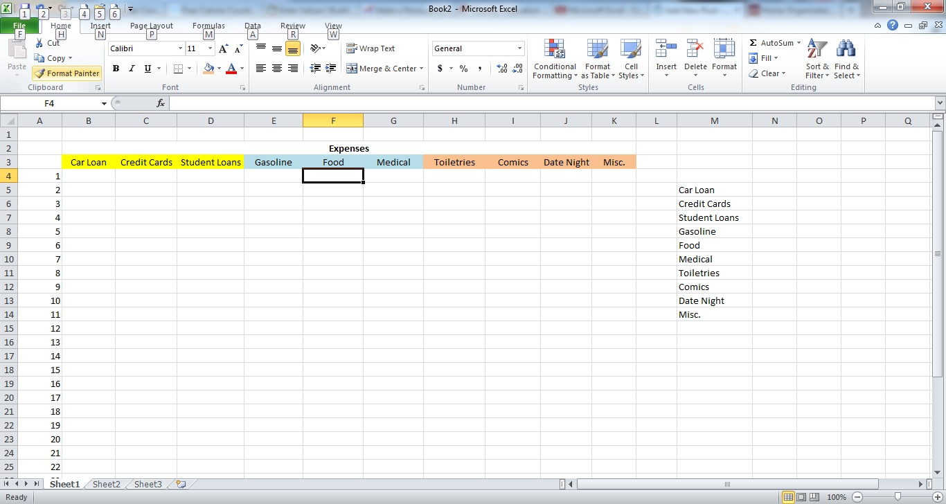 example of personal expenses in excel
