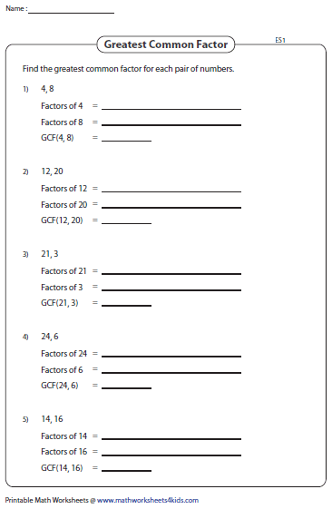 greatest common factor example problems