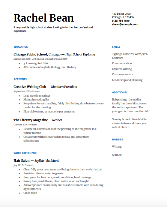 example of extracurricular activities on a resume
