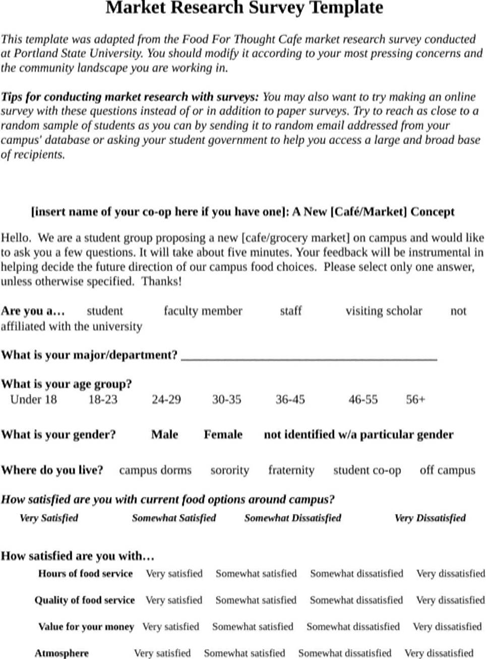 an example of a market research questionnaire