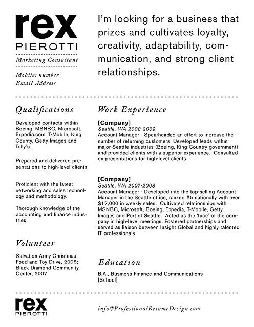 cv example on writting about your personality