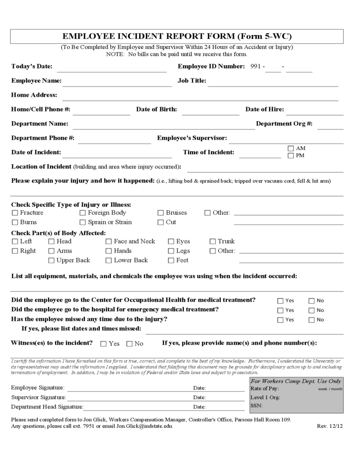 example incident report writing hospital