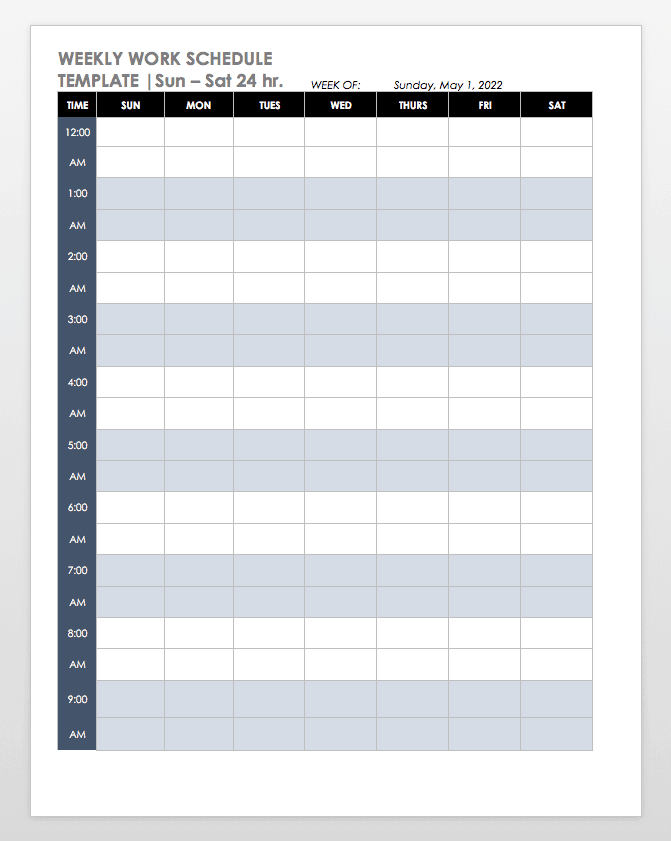 part time work schedule example