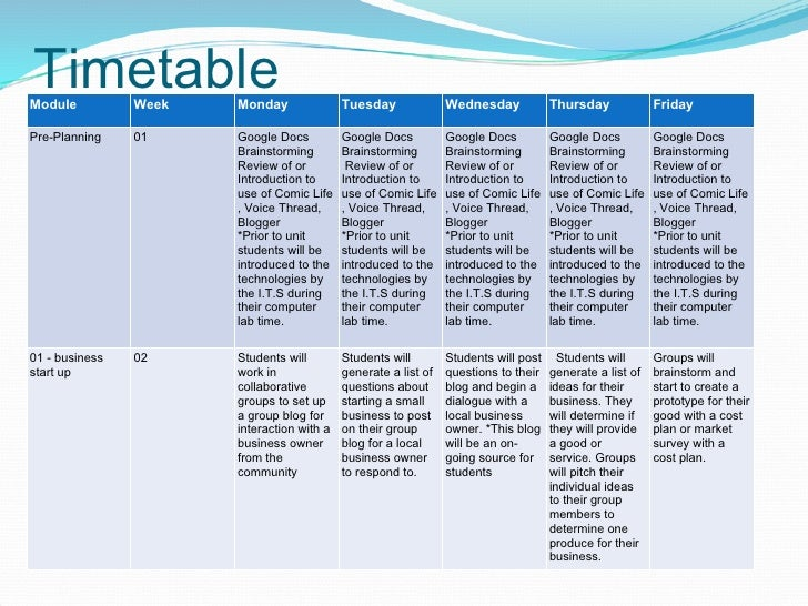timetable for research proposal example