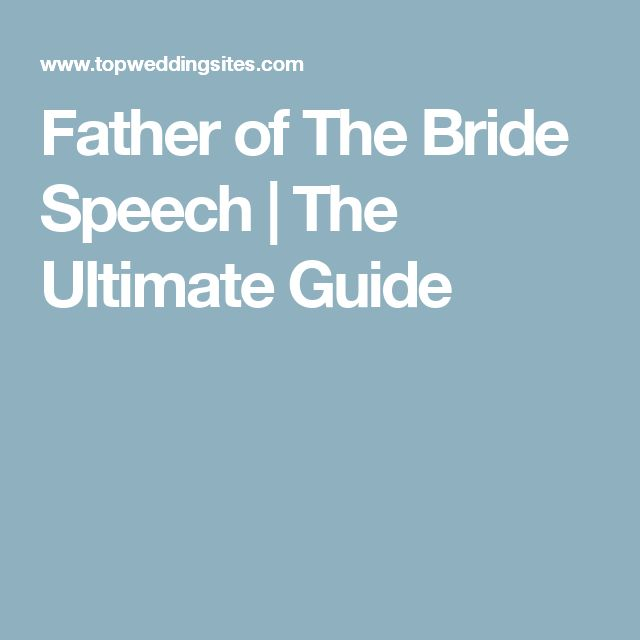 example of a speech for the father of a bride