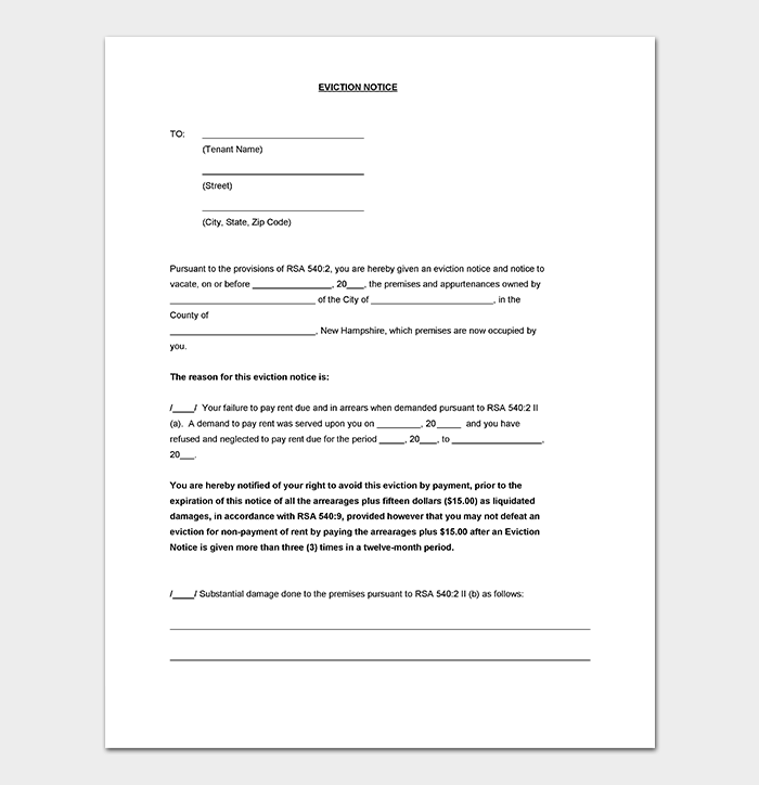 evictions 24-hour notice letter example