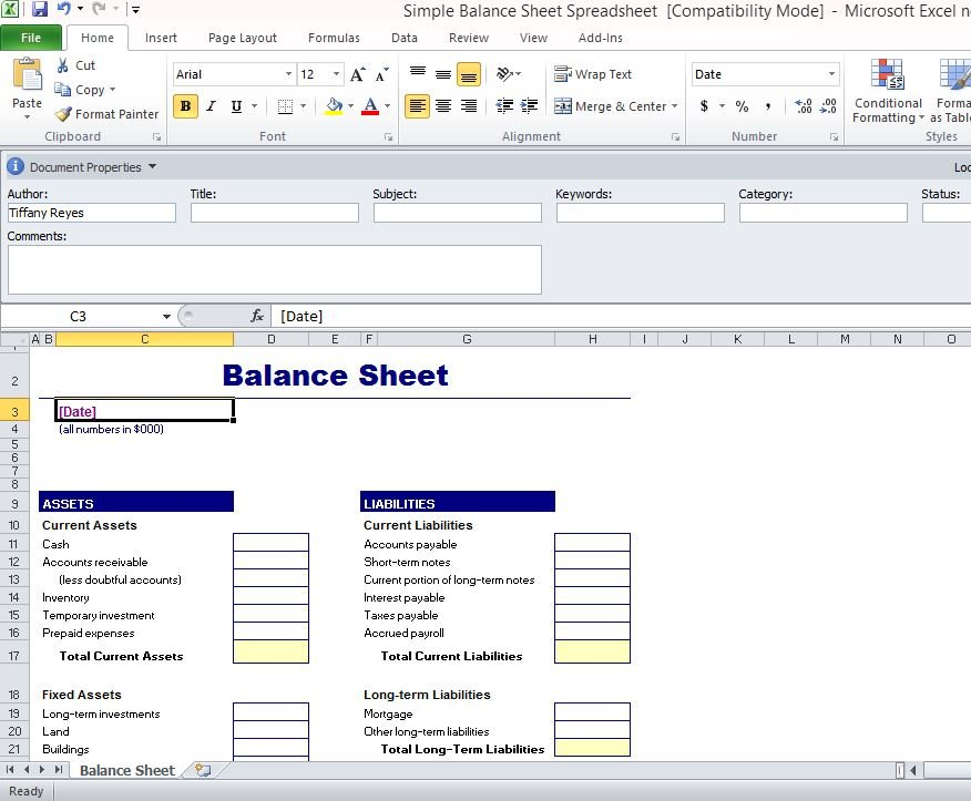 personal balance sheet example excel