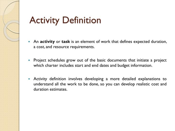 project management activity definition example