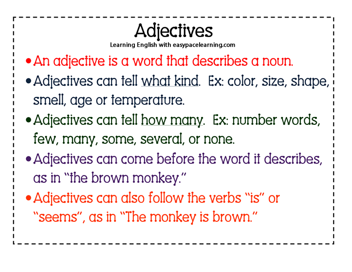 what is a example of a adjective